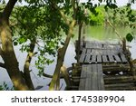 A Small  Old  Wooden Pier Comes ...