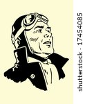 vector portrait of a retro pilot | Shutterstock .eps vector #17454085