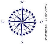 compass rose vector with... | Shutterstock .eps vector #1745409947