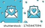 black envelope with valentine...   Shutterstock .eps vector #1745447594