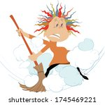 dust cloud and woman with a big ... | Shutterstock .eps vector #1745469221