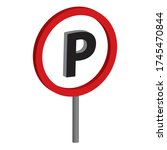 triffic sign board parking 3d... | Shutterstock .eps vector #1745470844