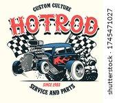 vector of hotrod car with big... | Shutterstock .eps vector #1745471027