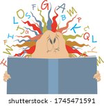 man or woman holds a book... | Shutterstock .eps vector #1745471591