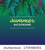 summer tropical background with ... | Shutterstock .eps vector #1745480501