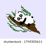 the panda is lying on a tree.... | Shutterstock .eps vector #1745505611