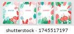 vector set floral background ... | Shutterstock .eps vector #1745517197