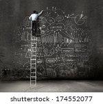rear view of businessman... | Shutterstock . vector #174552077