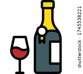 glass of wine and wine bottle... | Shutterstock .eps vector #1745538221