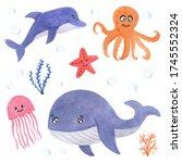 watercolor illustration  set of ... | Shutterstock . vector #1745552324