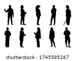people silhouette standing ... | Shutterstock .eps vector #1745585267