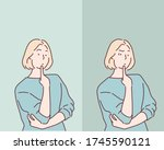 worried woman. hand drawn style ... | Shutterstock .eps vector #1745590121