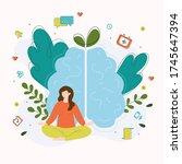 mindfulness concept meditation... | Shutterstock .eps vector #1745647394