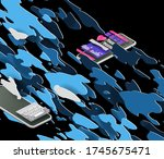 mobile phones in isometric view ...