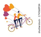 two lovers flying on a tandem... | Shutterstock .eps vector #174568934
