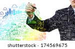 close up of businessman drawing ... | Shutterstock . vector #174569675