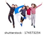 group of children jumping... | Shutterstock . vector #174573254