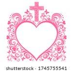 baptism card design with cross. ... | Shutterstock .eps vector #1745755541