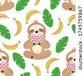 seamless pattern with cute...   Shutterstock .eps vector #1745759867