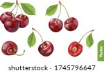 set of fresh cherries with leaf ...   Shutterstock .eps vector #1745796647