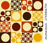 60s pattern with circles and... | Shutterstock .eps vector #1745806754