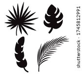 tropical leaves silhouettes ... | Shutterstock .eps vector #1745812991