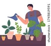 young man watering houseplants... | Shutterstock .eps vector #1745819591