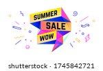summer sale. 3d sale banner... | Shutterstock .eps vector #1745842721