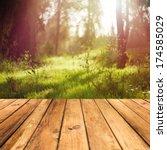 wooden floor terrace over... | Shutterstock . vector #174585029