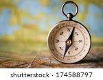 magnetic compass standing...   Shutterstock . vector #174588797