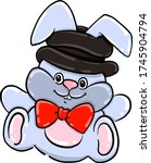 bunny with hat   illustration ... | Shutterstock .eps vector #1745904794