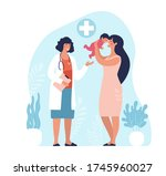 mom and child are examined by a ... | Shutterstock .eps vector #1745960027