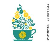 tea cup. restaurant menu design.... | Shutterstock .eps vector #1745964161