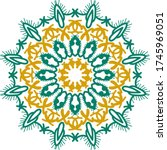 yellow and green mandala vector ... | Shutterstock .eps vector #1745969051