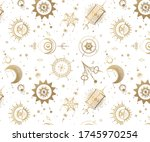 seamless pattern with tarot... | Shutterstock .eps vector #1745970254