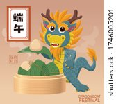 vintage chinese rice dumplings... | Shutterstock .eps vector #1746005201