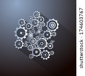 abstract paper cogs  gears on... | Shutterstock . vector #174603767