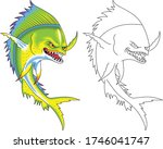 green monster fish with big... | Shutterstock .eps vector #1746041747