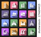 set of buildings icons in flat... | Shutterstock . vector #174604415