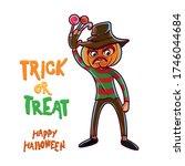 child with pumpkin in halloween ... | Shutterstock .eps vector #1746044684