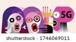 people afraid of 5g radiation... | Shutterstock .eps vector #1746069011