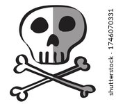 vector skull with bone isolated ... | Shutterstock .eps vector #1746070331