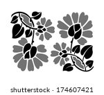 floral grayscale pattern. art...