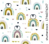 penguin and rainbows hand drawn ... | Shutterstock .eps vector #1746076247