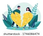 smiling couple restoring broken ...   Shutterstock .eps vector #1746086474