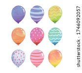 pack of balloon for party ... | Shutterstock .eps vector #1746092057