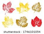 stamp of asymmetric maple leaf  ... | Shutterstock .eps vector #1746101054