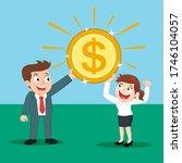 boss giving big gold dollar... | Shutterstock .eps vector #1746104057