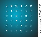 arrows set on blue background   ... | Shutterstock . vector #174611444