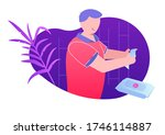 person cleaning hands with... | Shutterstock .eps vector #1746114887